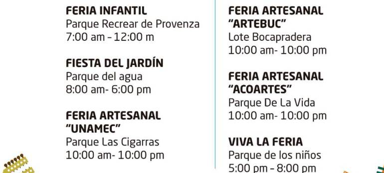 FERIAS, EVENTOS: Programación de las ferias de Bucaramanga para hoy martes 18 de septiembre
