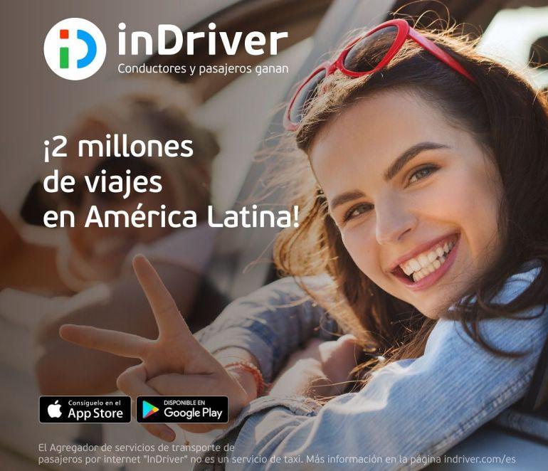 Tecnología: inDriver llega a 2 millones de viajes en América Latina