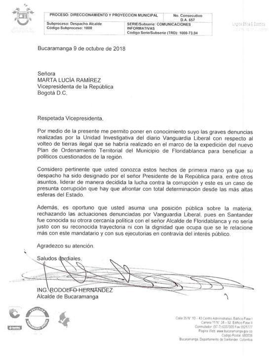 BUCARAMANGA FLORIDABLANCA CARTA MARTHA LUCÍA RAMÍREZ POT: La curiosa carta que escribió el alcalde de Bucaramanga