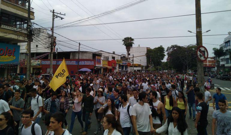Los estudiantes que participaron de la marcha aseguraron que el déficit de la universidad del Tolima supera los 12 mil millones de pesos.