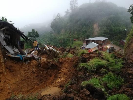 Deslizamiento en Marquetalia, Caldas, deja cuatro muertos