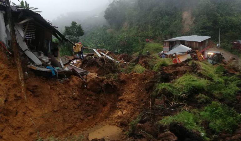Sitio de la emergencia en Marquetalia, Caldas