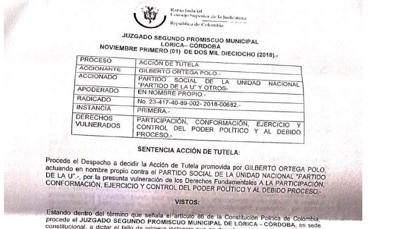 Juez ordena a La U enviar terna para elegir gobernador (e) de Córdoba