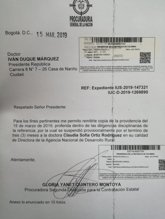 Con video denunciarán proselitismo en Boyacá de directora de Agencia Rural: Procuraduría suspende a directora de la Agencia de Desarrollo Rural