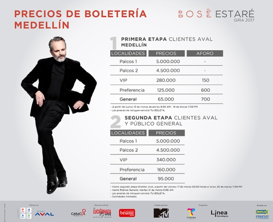 Concierto Miguel Bosé: El lunes 13 de marzo inicia preventa para el concierto de Miguel Bosé