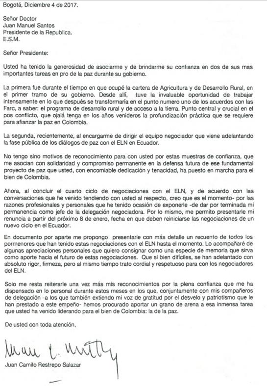 Renunció jefe del equipo negociador con el ELN: Juan Camilo Restrepo renuncia a equipo de negociación del Gobierno con el Eln