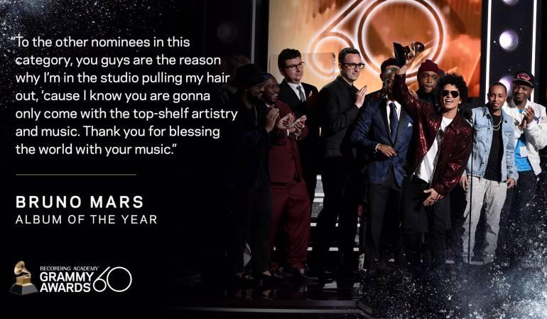 Bruno Mars el ganador de la noche