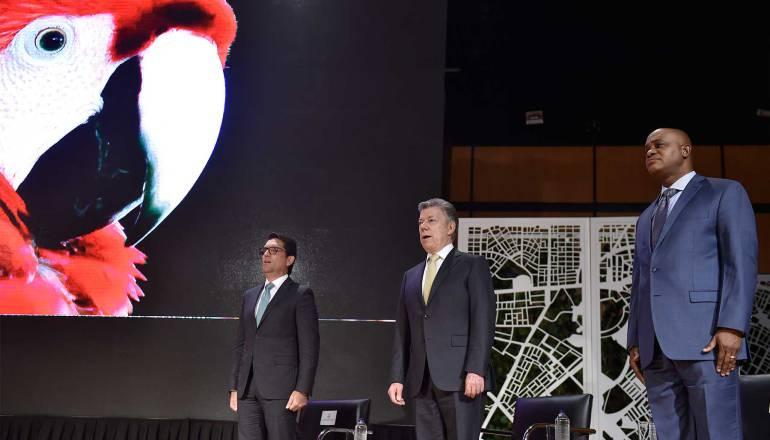 Santos durante la presentación de la frontera agrícola colombiana