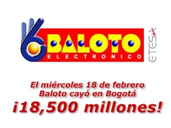 Cayó el Baloto en Bogotá por $18 mil 500 millones