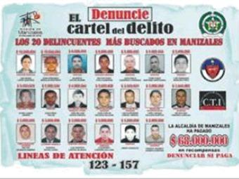 Policía revela los 20 hombres más buscados en Manizales
