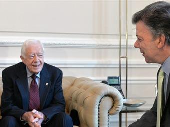 Nobel de Paz, Jimmy Carter, felicita y apoya a Santos por Proceso de Paz