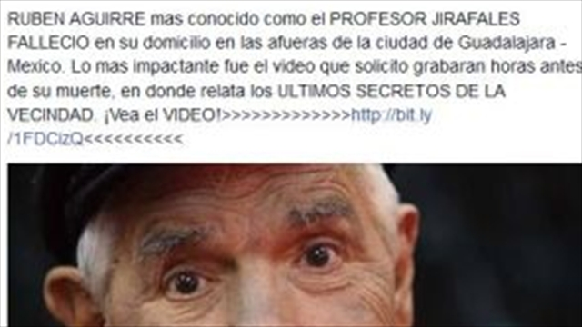 Virus informático anuncia falsa muerte del 'profesor Jirafales'