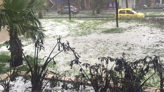 Fuerte granizada y tormenta eléctrica esta tarde en Medellín