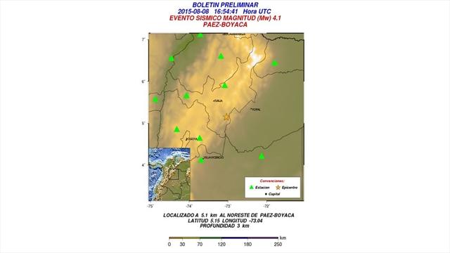 Reportan sismo de magnitud 4,1 en Boyacá
