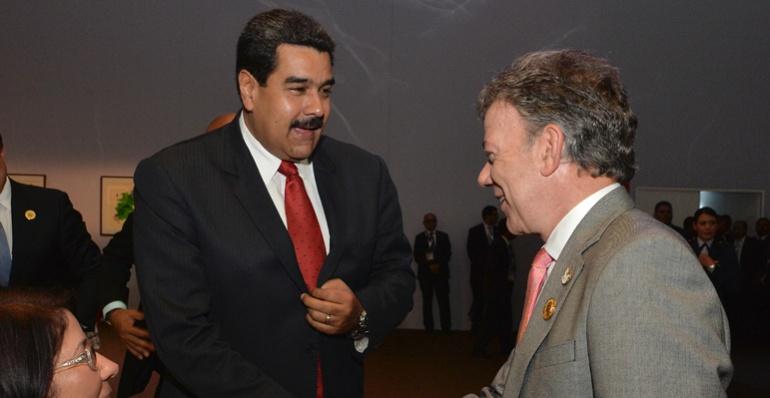 Presidente de Colombia Juan Manuel Santos y el presidente de Venezuela Nícolas Maduro