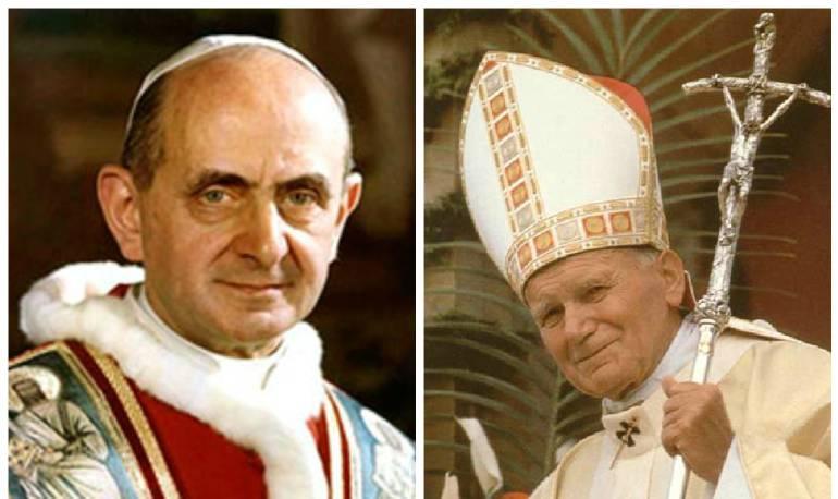 (Izq) papa Pablo VI y papa Juan pablo II (Der)