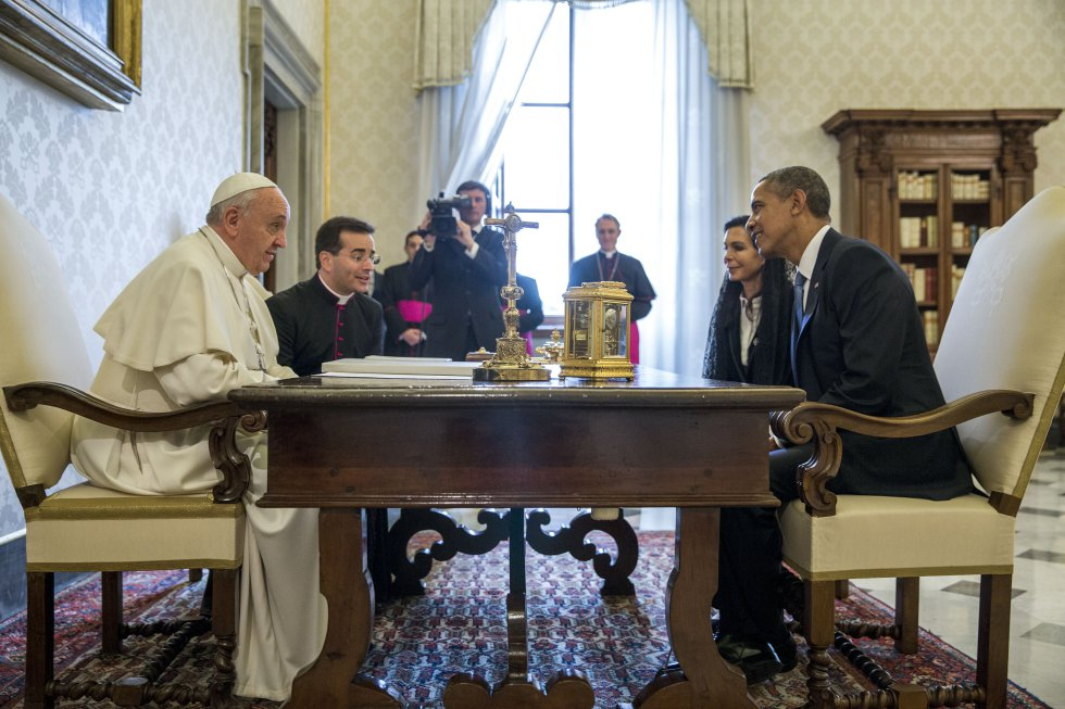 papa Francisco junto al presidente Barack Obama