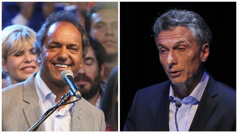 El kirchnerista Daniel Scioli y el conservador Mauricio Macri.