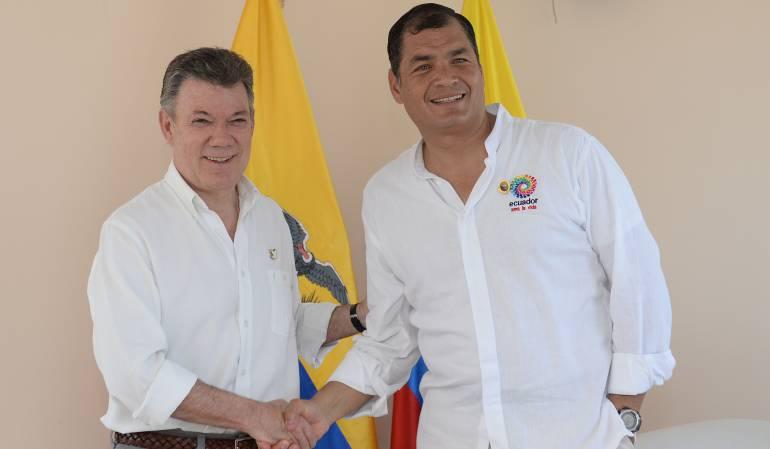 Santos y Correa se fijaron 90 metas binacionales para el 2016