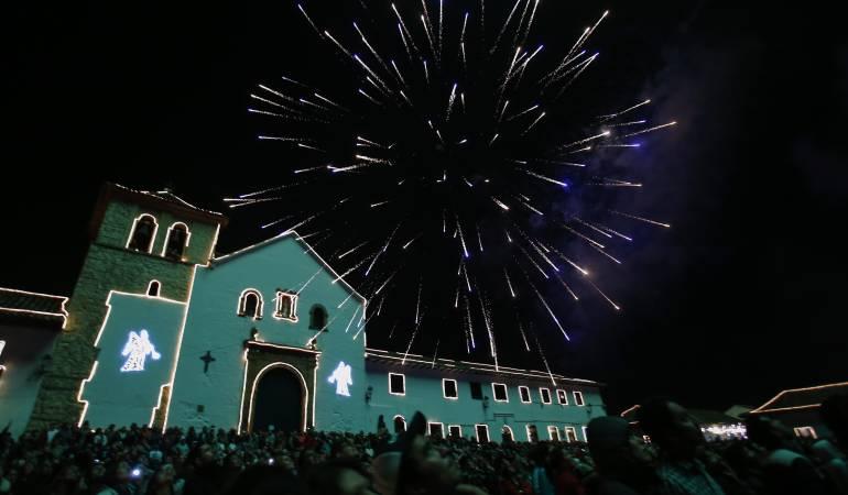 Plaza principal del municipio de Villa de Leyva, se realizó el tradicional Festival de las Luces 2015.