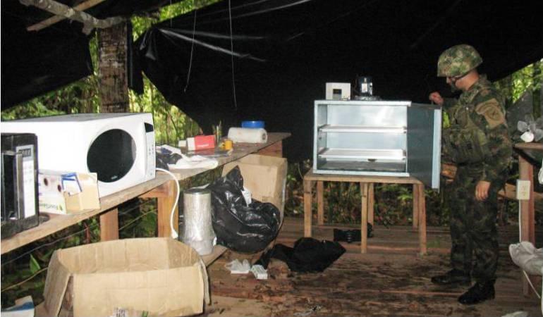 ELN laboratorio de cocaína Ejército Colombia: El Ejército destruyó seis laboratorios artesanales del ELN en Antioquia