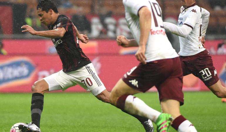Milan Torino Bacca Zapata: Con los colombianos en cancha Milan derrotó 1-0 a Torino y se acerca a puestos de Europa