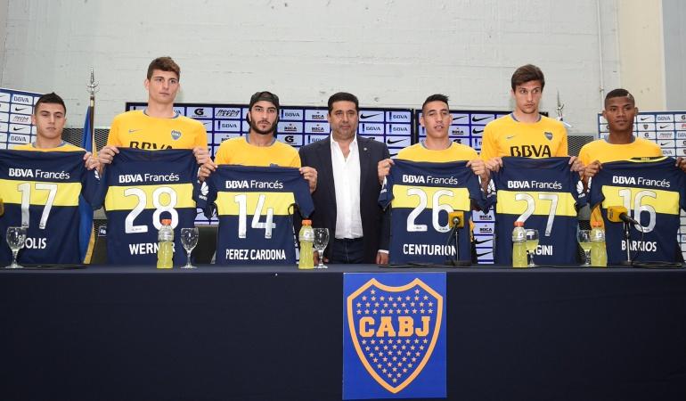 Barrios y Pérez fueron presentados con la camiseta de Boca