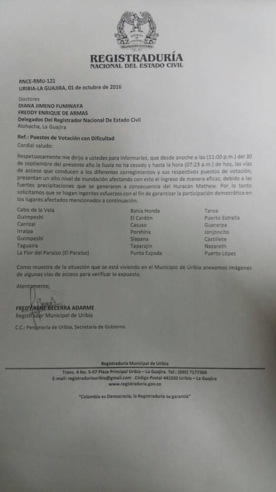 Huracán Matthew obligaría a trasladar mesas de votación en La Guajira