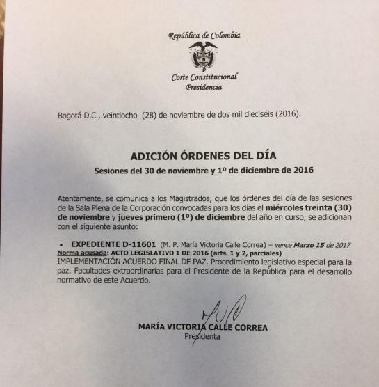 Refrendación de acuerdo de paz: Ponencia en la Corte mantiene el 'fast track' y pide refrendación popular