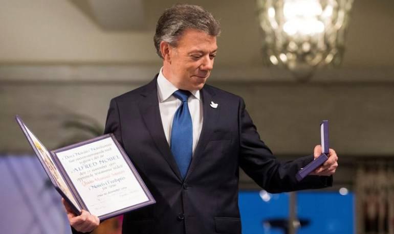 Juan Manuel Santos tras recibir el Premio Nobel de Paz