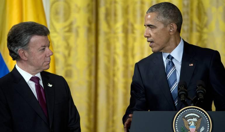 Foto de Juan Manuel Santos y Barack Obama en febrero de 2015.