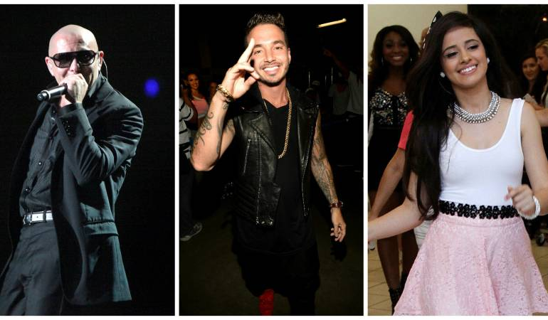 El cantante de ascendencias cubanas Pitbull, el reguetonero colombiano J Balvin y la ex integrante estadounidense con raíces latinas Camila Cabello.