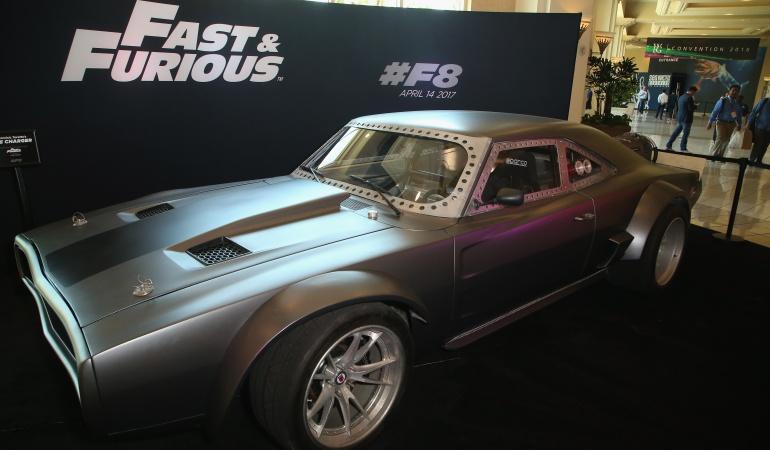 Uno de los vehículos usados para la cinta que fueron exhibidos en el Mandalay Bay Convention Center de Las Vegas.