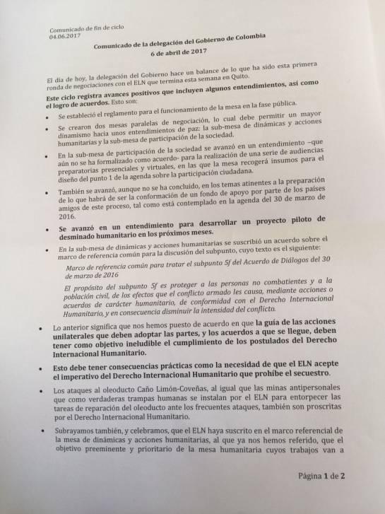 Diálogos entre el Gobierno y el ELN: Gobierno logra con el Eln acuerdo sobre desminado y DIH