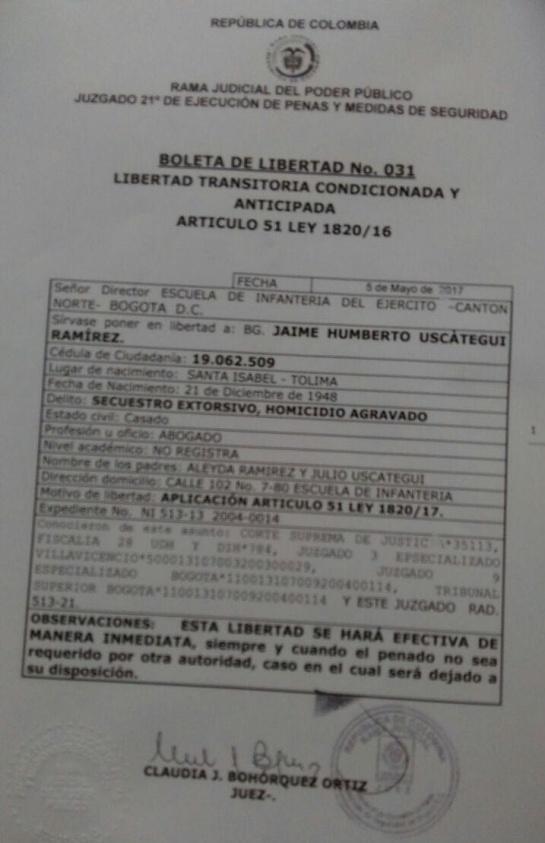 Boleta de libertad del general (r) Jaime Uscátegui