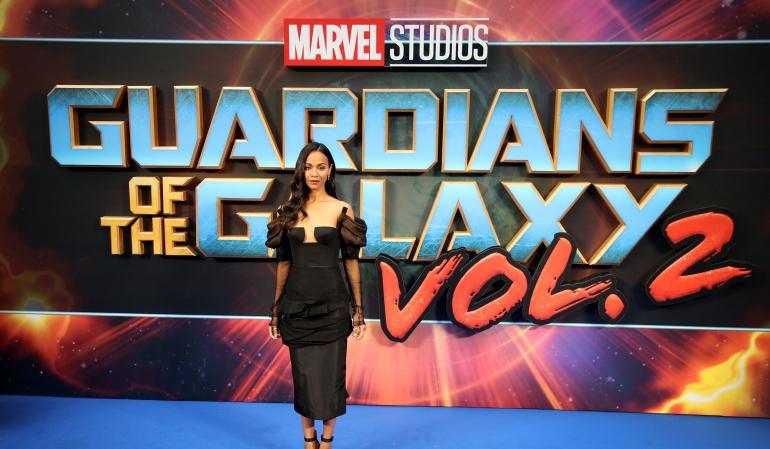 La actriz  Zoe Saldana en la premiére de la cinta.