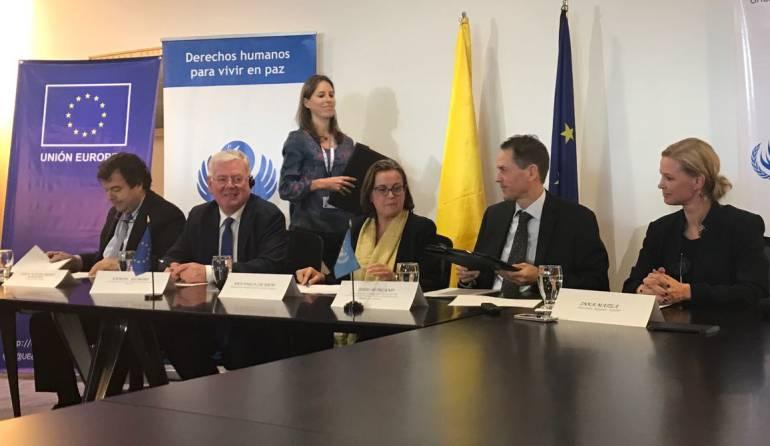 dineros de cooperación para el postconflicto: La Unión Europea, la ONU y la Defensoría del Pueblo firman acuerdos de Derechos Humanos para el país