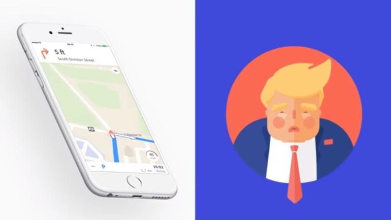 El Presidente de Estados Unidos Donald Trump se convierte en un guía de navegación.