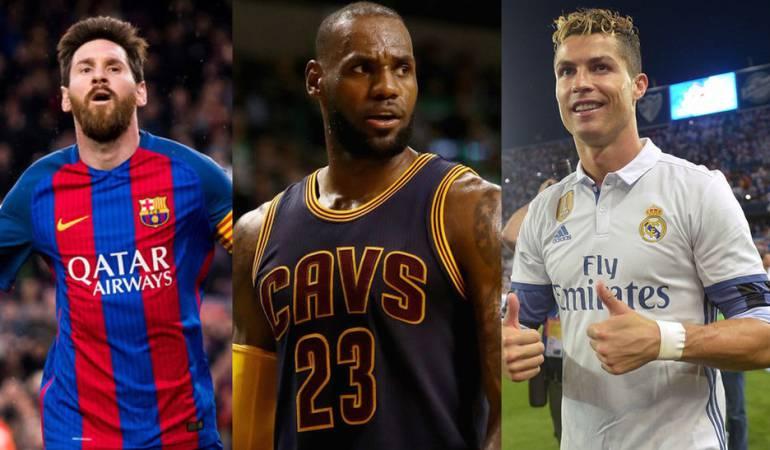 Leonel Messi, Lebron James y Cristiano Ronaldo