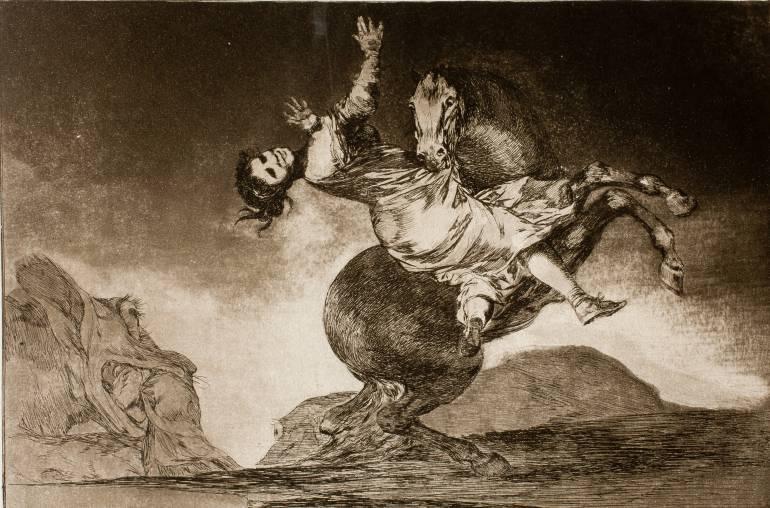"""""""El caballo raptor"""", aguafuerte de la serie """"Los Disparates"""", de Goya (1815-1819)."""