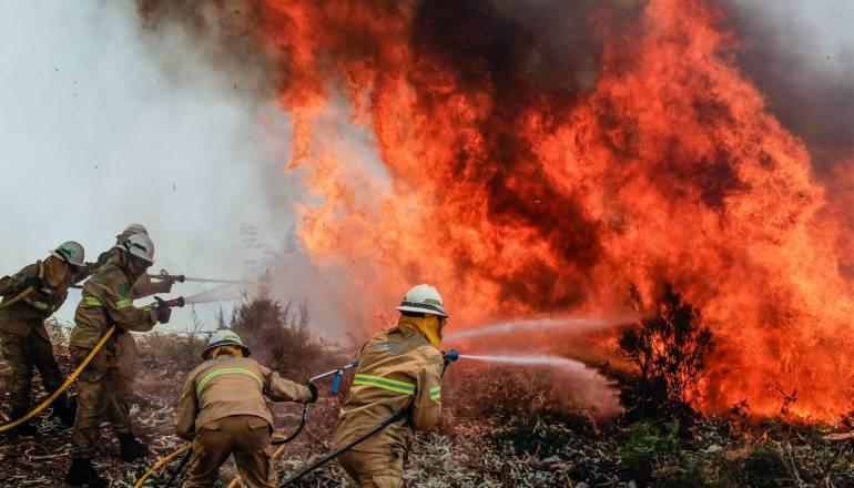 Soldados de la Guardia Nacional Republicana portuguesa luchan con un incendio forestal en Capela Sao Neitel, Alvaiazere, Portugal central