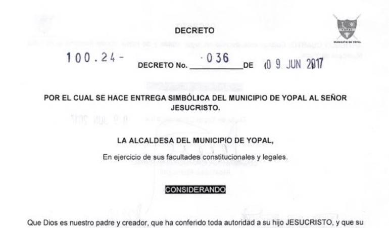El decreto que hace la entrega simbólica de Yopal al