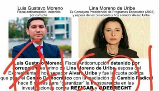 Fake news: La noticia falsa sobre el ex fiscal Moreno y la esposa de Uribe
