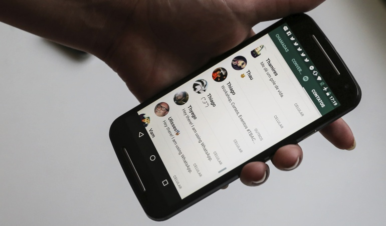 """Interfaz de la popular aplicación de mensajería instantánea """"WhatsApp""""."""