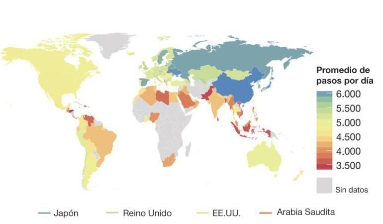 Este mapa muestra la media diaria de pasos según los datos de 111 países con al menos 100 usuarios de la aplicación Argus. Los países con colores cálidos indican niveles de actividad bajos. Pero los investigadores solo analizaron en detalle dos países de América Latina: Chile y México.