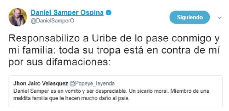 Amenazas contra Daniel Samper Ospina: Sicario de Escobar y José Obdulio incitan a violencia contra Daniel Samper Ospina