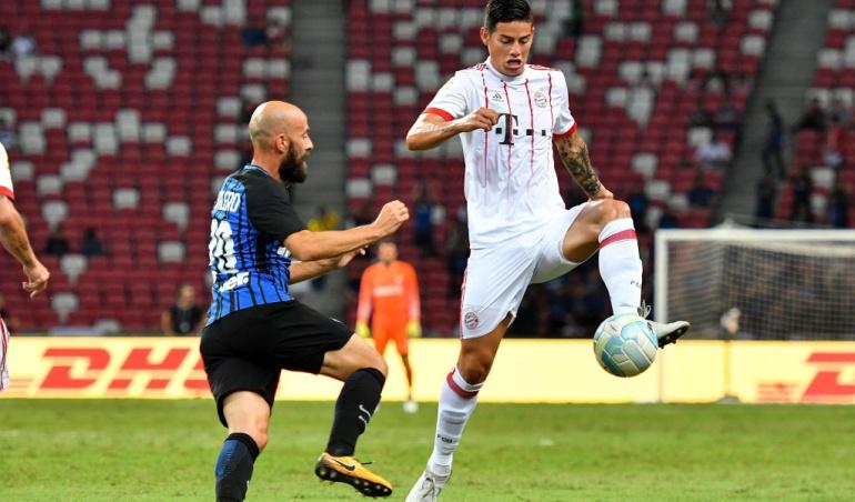 James Inter: James jugó 45 minutos en la derrota del Bayern Múnich ante el Inter