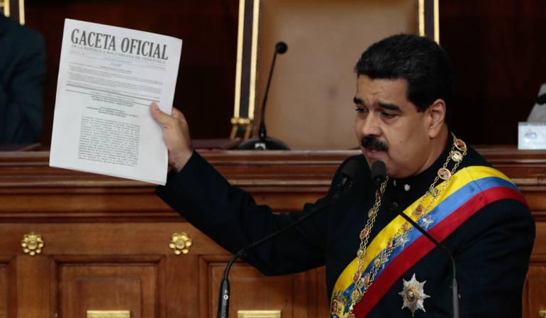 Fotografía cedida por prensa de Miraflores donde se observa al presidente de Venezuela, Nicolás Maduro.