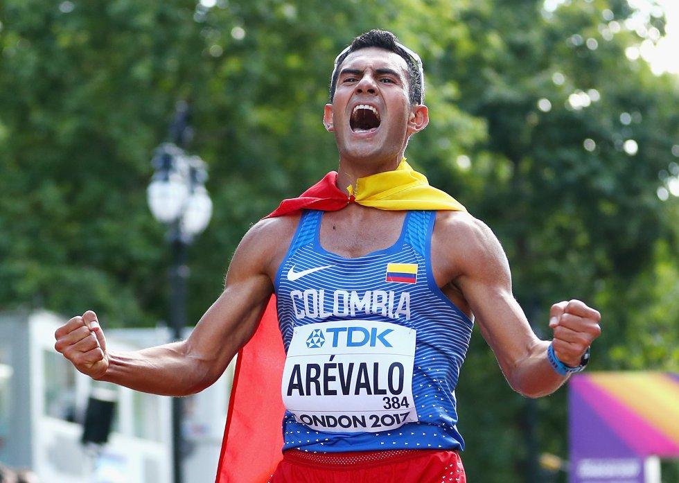 Éider Arévalo se coronó, hoy, campeón en en los 20 km marcha en el Mundial de atletismo, realizado en Londres.