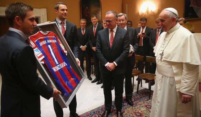 El Bayern de Múnich en audiencia privada con el papa Francisco.